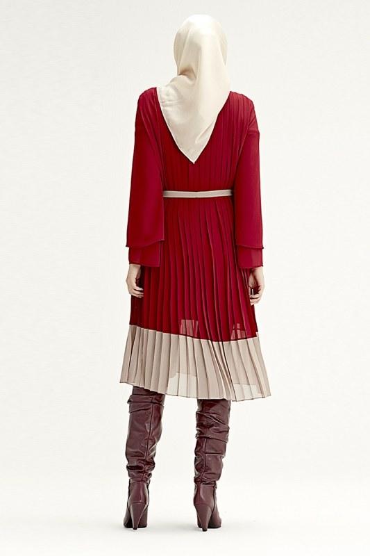 فستان بليسي ثلاثي اللون (احمر قامغ)