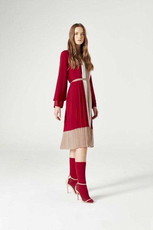Üç Renkli Pliseli Elbise (Bordo)