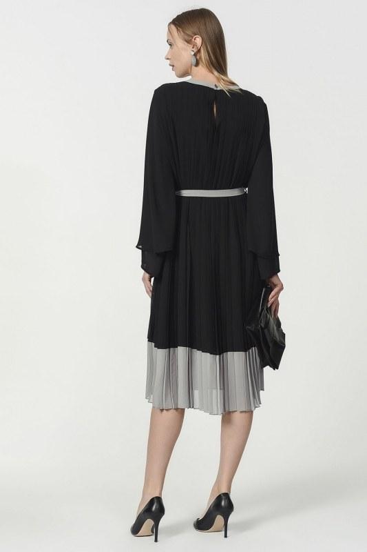 فستان بليسي ثلاثي اللون (اسود)