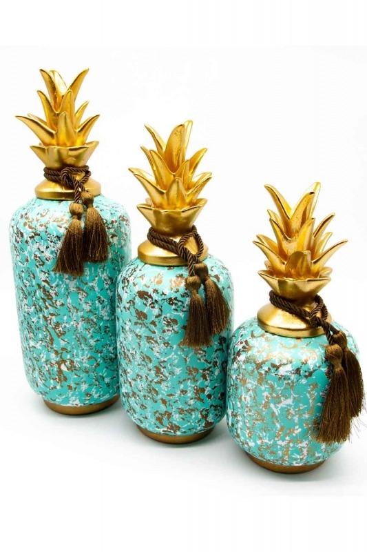 Üçlü Dekoratif Ananas Biblo (St)