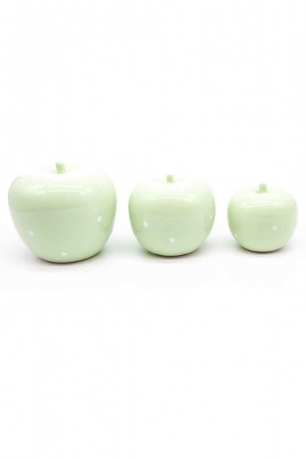 Üçlü Elma Seramik Biblo (Yeşil) - Thumbnail