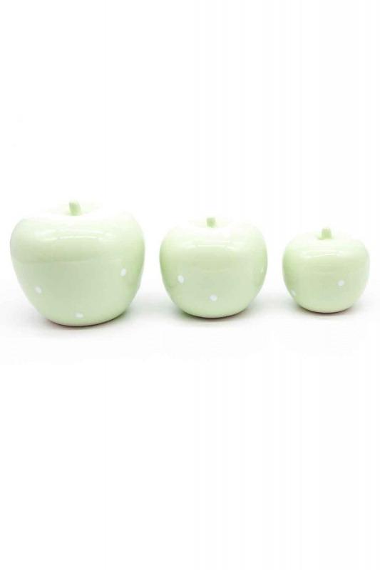 Üçlü Elma Seramik Biblo (Yeşil)