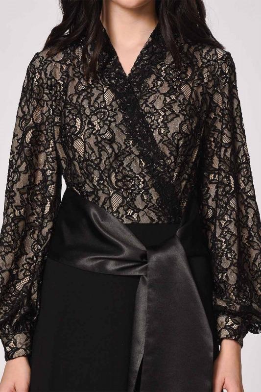 Üstü Dantelli Abiye Elbise (Siyah)