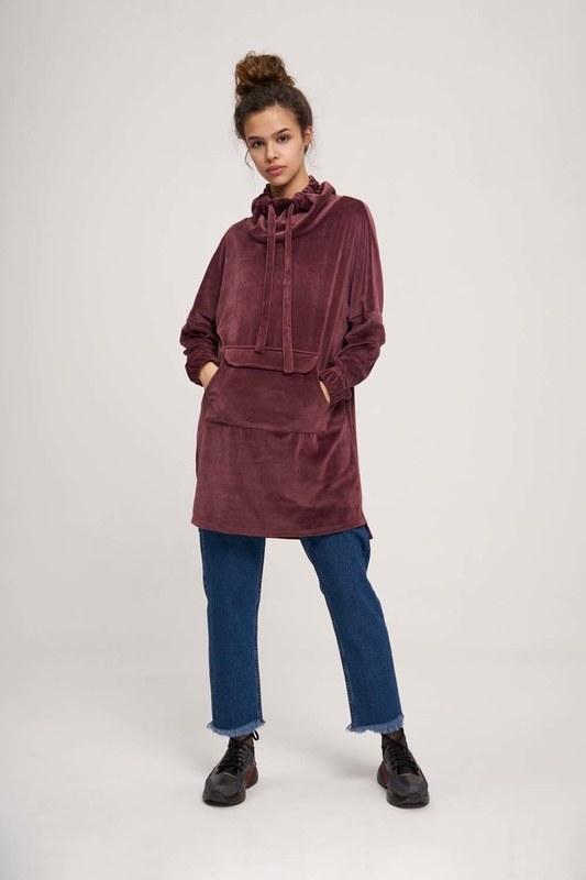 Uzun Kadife Sweatshirt (Mürdüm)