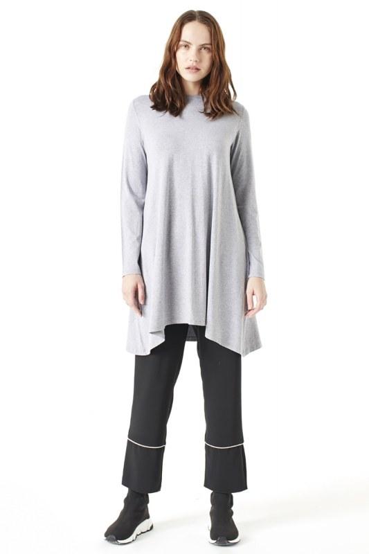 Long-Sleeved Basic Tunic (Grey)