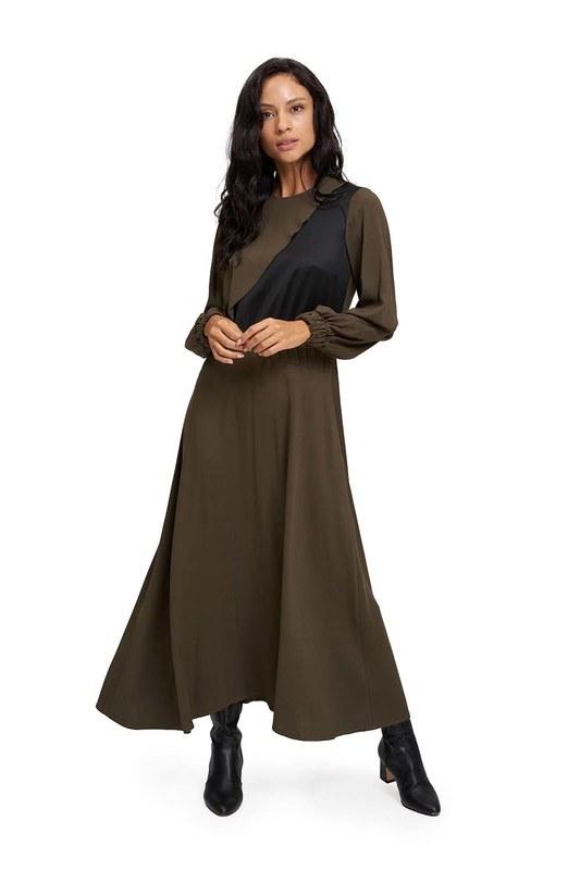 Uzun Parçalı Cupra Elbise (Haki)
