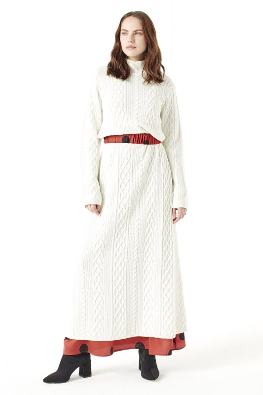 Long Tricot Dress (Ecru)