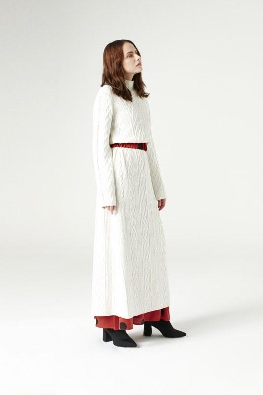 Uzun Triko Elbise (Ekru)