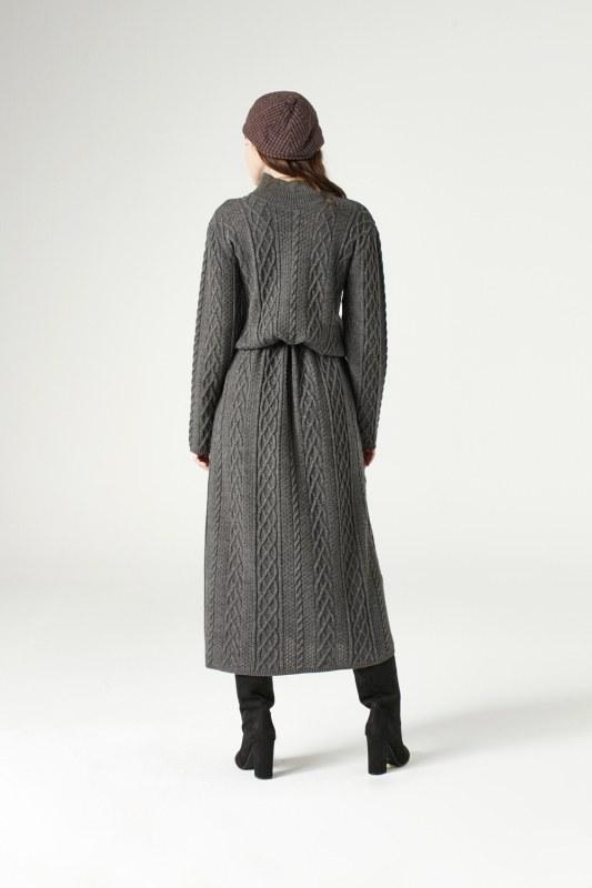فستان تريكو طويل(رمادي)