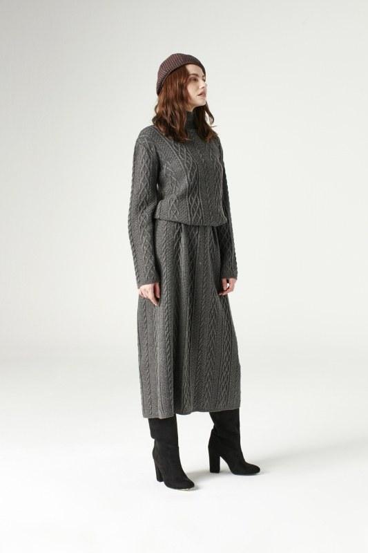 Uzun Triko Elbise (Gri)