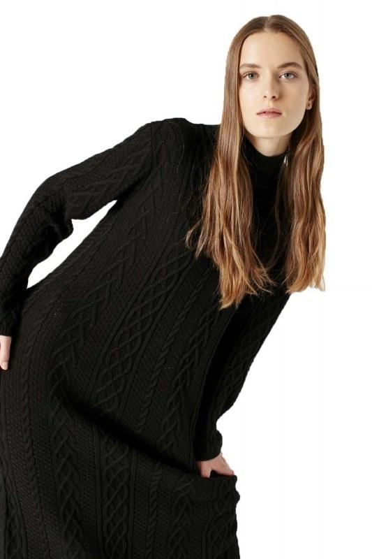 Long Tricot Dress (Black)