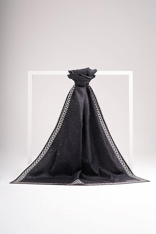 Varak Baskılı İpek Şal (Siyah)