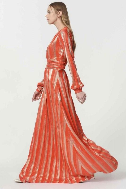 فستان مورق (برتقالي)