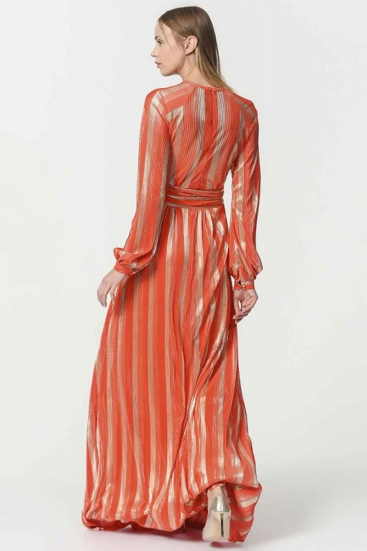 Varaklı Elbise (Turuncu)