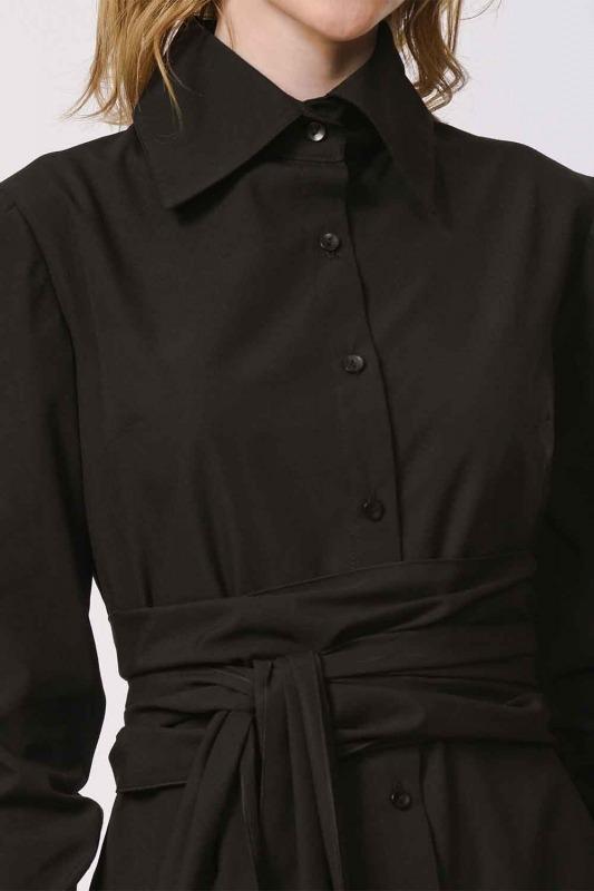 Vertical Collar Shirt Dress (Black)
