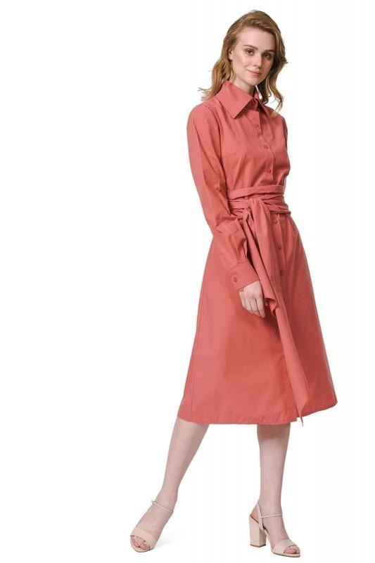 فستان القميص برباط بالخصر (المرجان)
