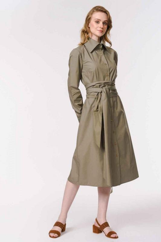 Vertical Collar Shirt Dress (Khaki)