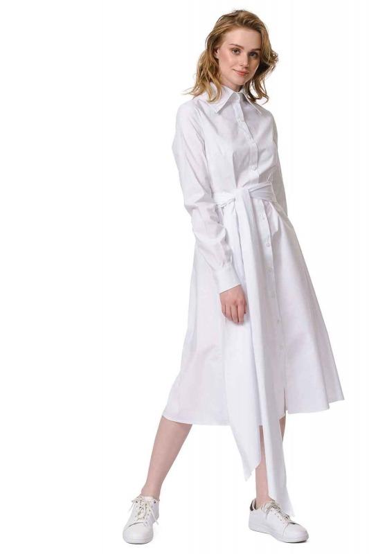 فستان القميص برباط بالخصر (أبيض)