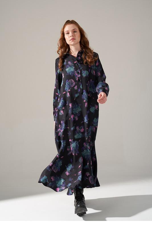 Viskon Desenli Elbise