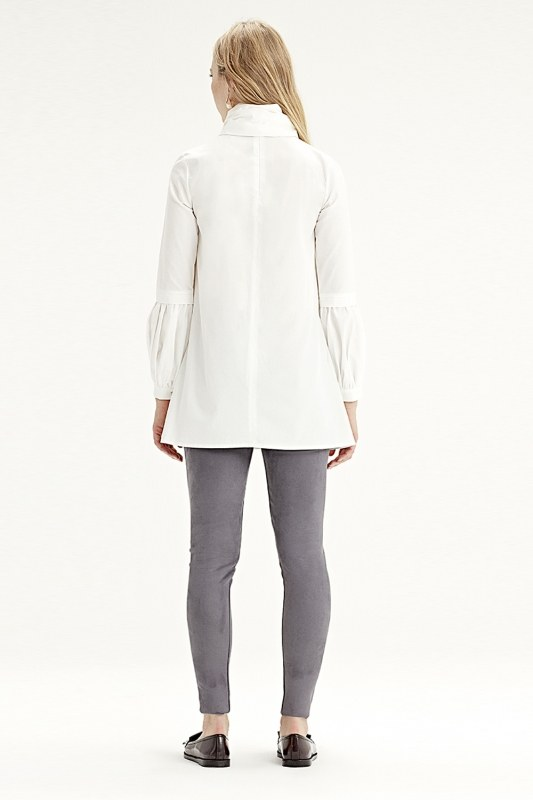 Volan Kollu Gömlek (Beyaz)