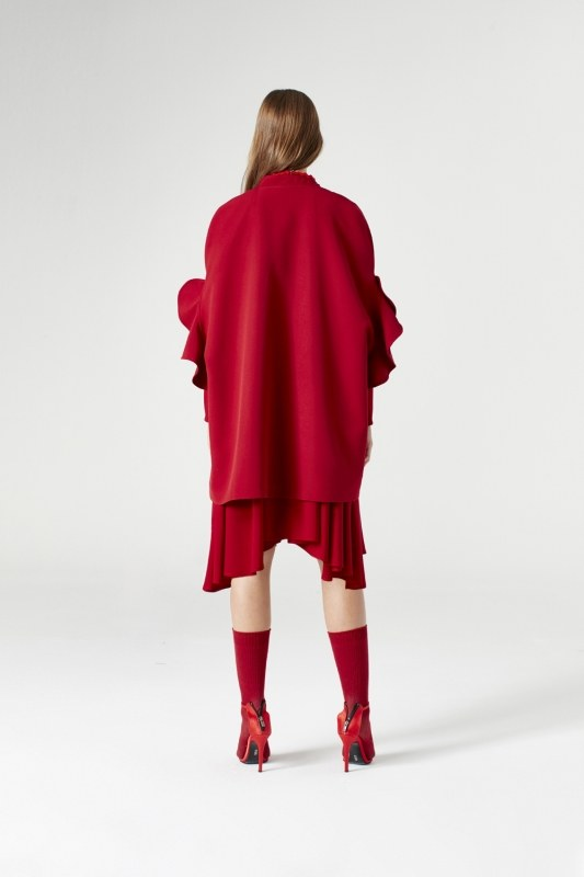 Flounce Sleeve Poncho (Claret Red)