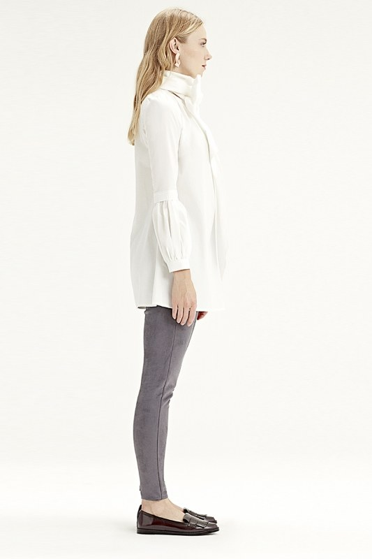 Volant Sleeve Shirt (White)