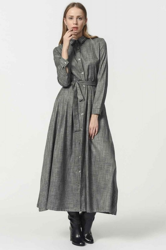 Waist Belt Detailed Dress (Grey)