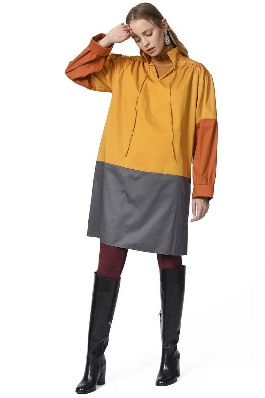 Collar Lacing Tunic With Pockets (Mustard)