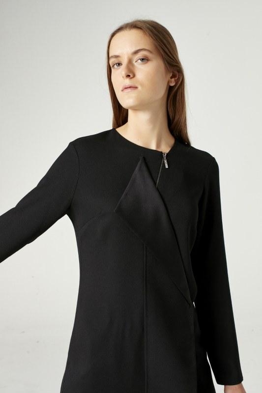 Yaka Fermuar Detaylı Tunik (Siyah)