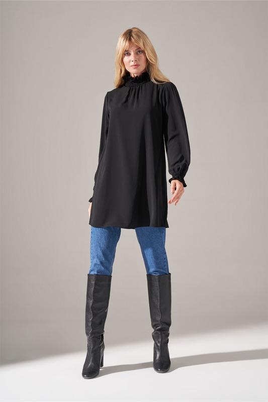 Yaka Kol Büzgülü Bluz (Siyah)