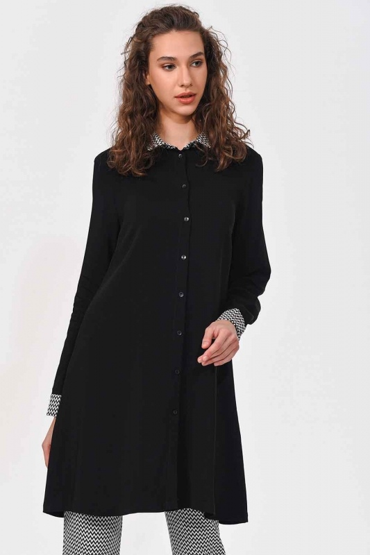 Collar Cuff Patterned Tunic Shirt (Black)