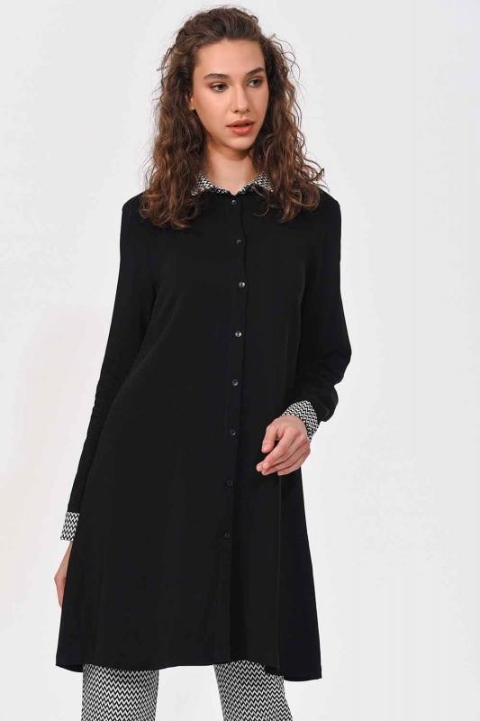 Yaka Manşet Desenli Tunik Gömlek (Siyah)