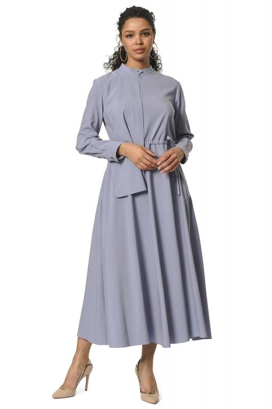 فستان طويل مع طوق شال مفصل(أزرق)