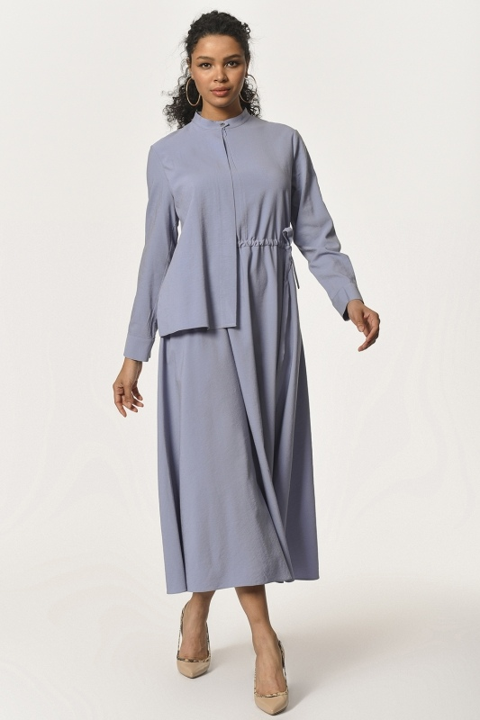 Collar Shawl Detailed Long Dress (Blue)