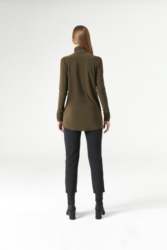 Shirring-Collar Blouse (Khaki)