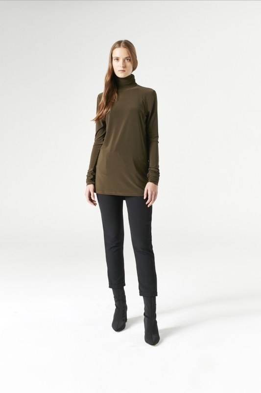 Shirring-Collar Blouse (Khaki)