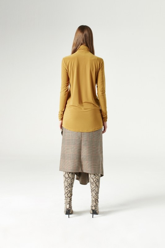 Shirring-Collar Blouse (Camel)
