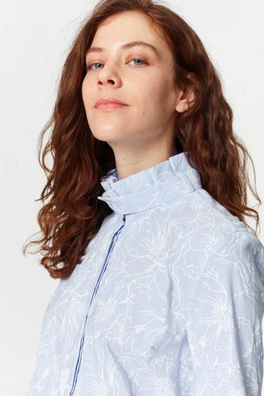 قميص مع طوق مطوي (الأزرق)