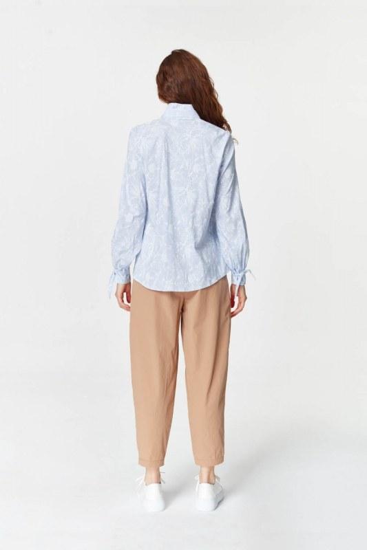 Yakası Pilili Gömlek (Mavi)