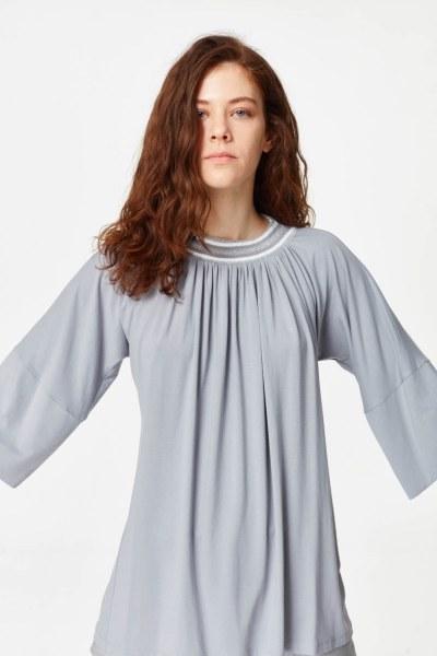 Yakası Ribanalı T-Shirt (Gri) - Thumbnail