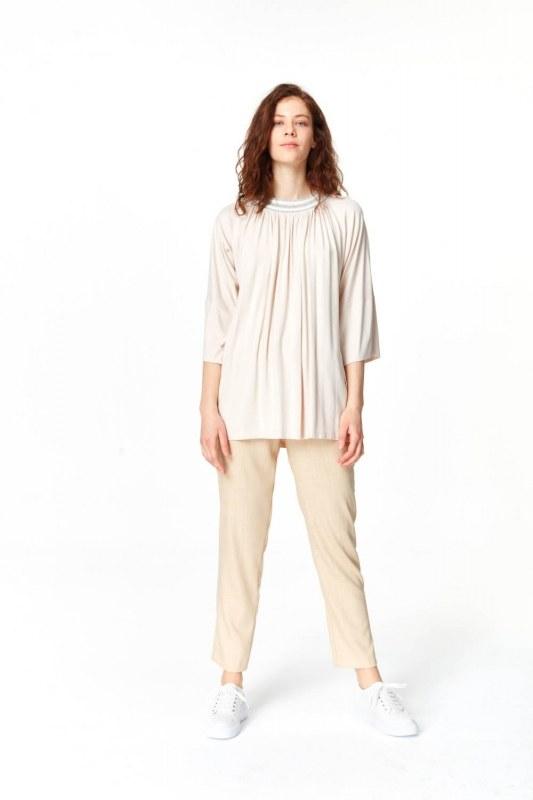 Yakası Ribanalı T-Shirt (Pudra)