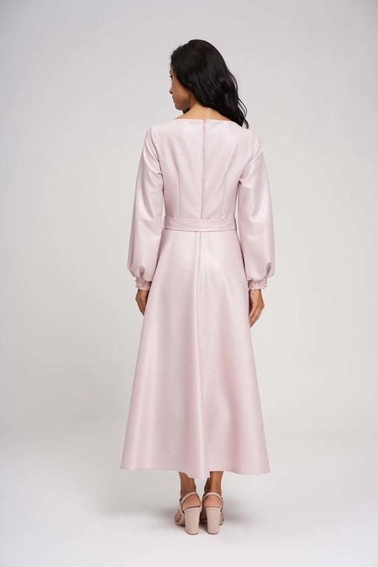 Yakası Taşlı Simli Abiye Elbise (Pembe)