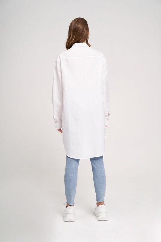 خط العنق قميص سترة مفصلة (أبيض)