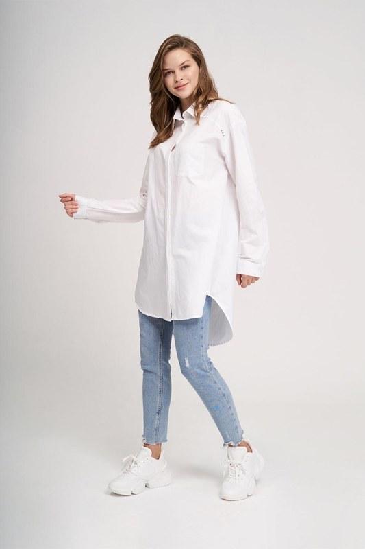 Yakası Troklu Tunik Gömlek (Beyaz)