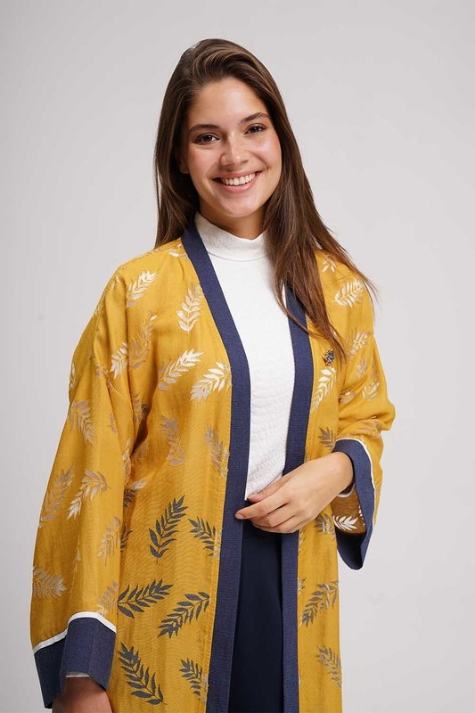Burnt Patterned Kimono (Saffron)