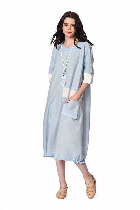 Yan Cep Detaylı Salaş Elbise (Açık Mavi)