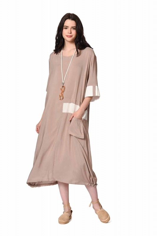 Yan Cep Detaylı Salaş Elbise (Açık Vizon)