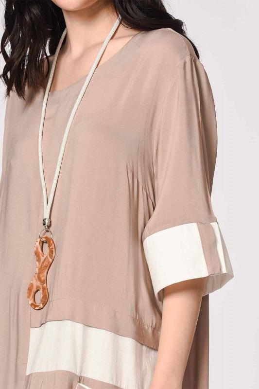 Side Pocket Bohemian Dress (Light Mink)