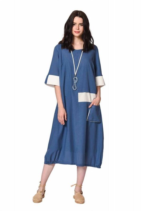 Yan Cep Detaylı Salaş Elbise (İndigo)