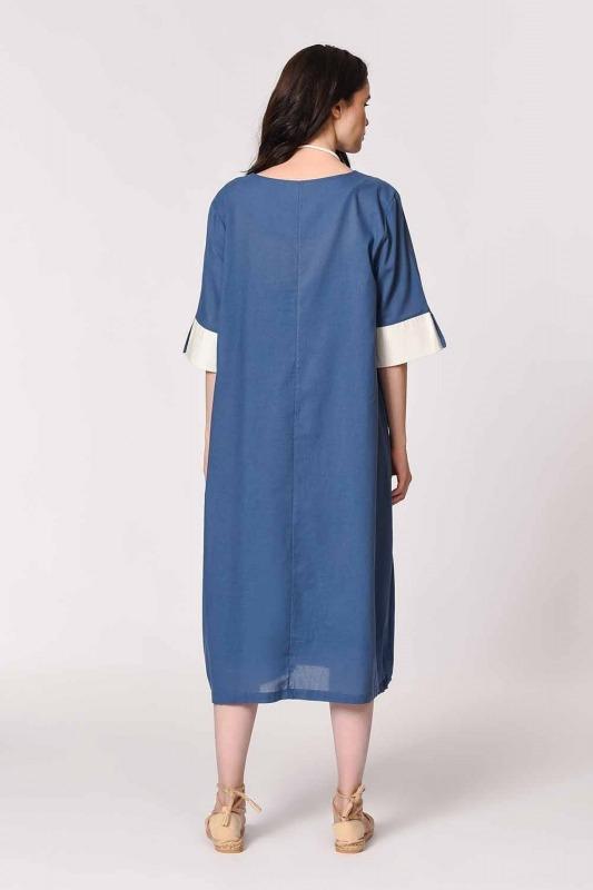 Side Pocket Bohemian Dress (Indigo)